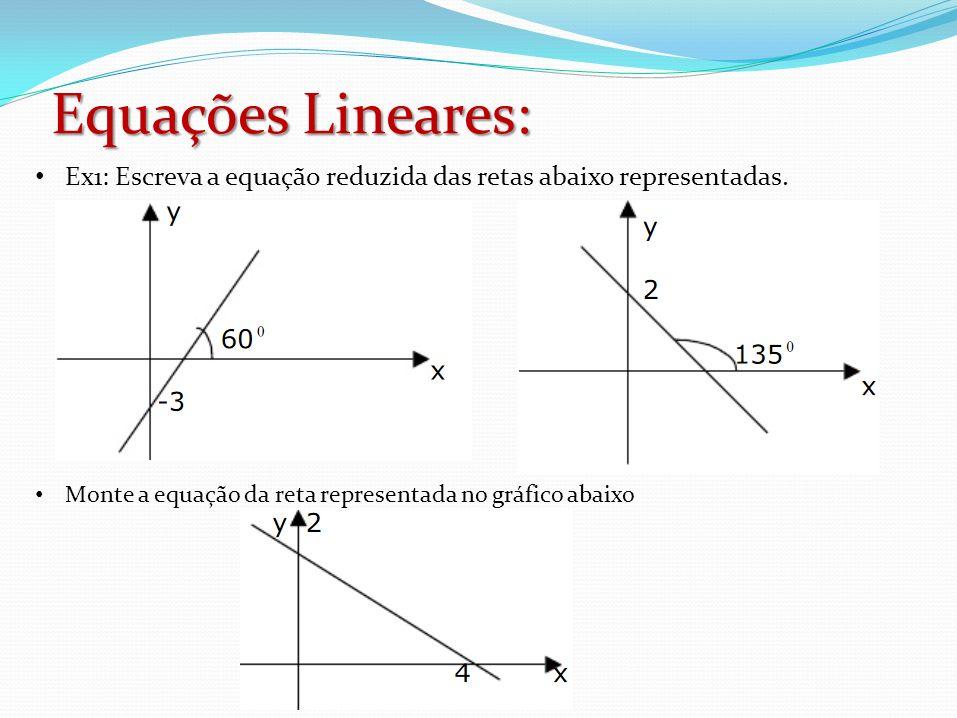Equações Lineares: Ex1: Escreva a equação reduzida das retas abaixo representadas.