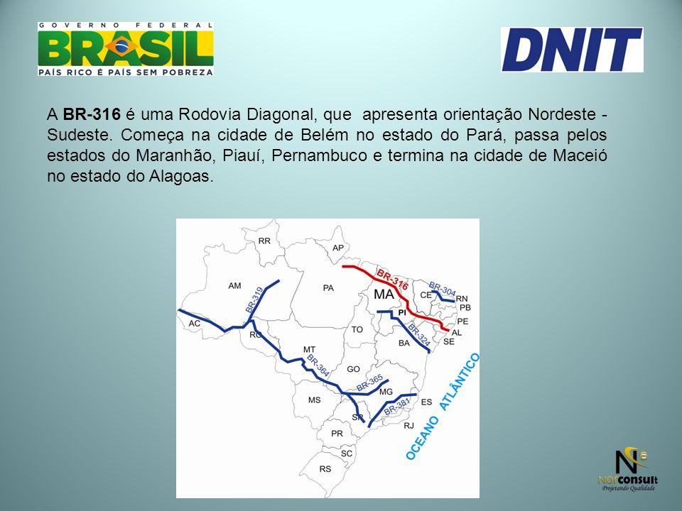 A BR-316 é uma Rodovia Diagonal, que apresenta orientação Nordeste - Sudeste.