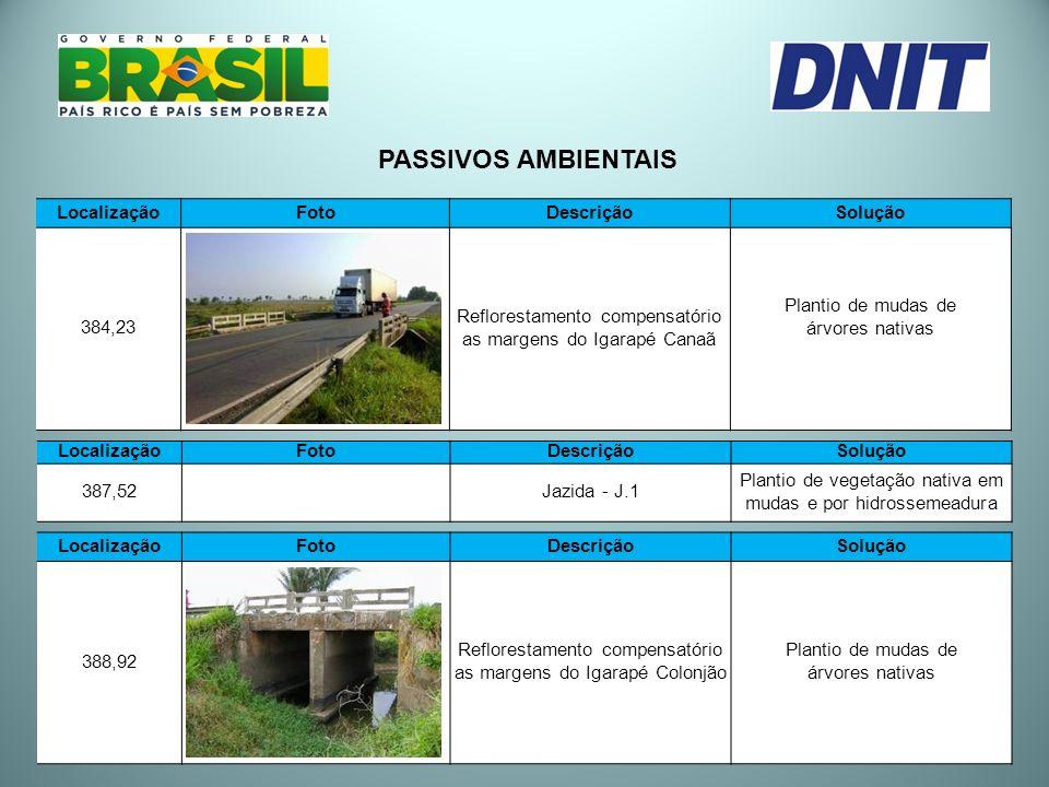PASSIVOS AMBIENTAIS Localização Foto Descrição Solução 384,23