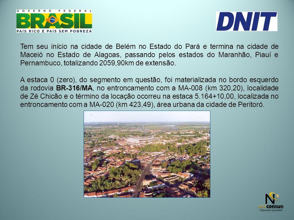 Tem seu início na cidade de Belém no Estado do Pará e termina na cidade de Maceió no Estado de Alagoas, passando pelos estados do Maranhão, Piauí e Pernambuco, totalizando 2059,90km de extensão.