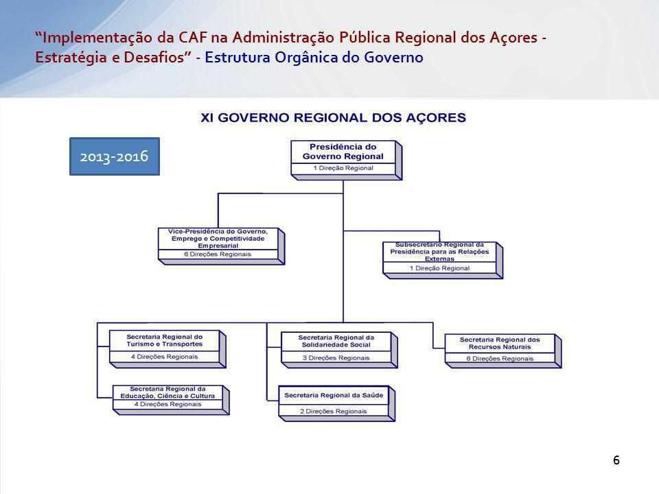 Implementação da CAF na Administração Pública Regional dos Açores - Estratégia e Desafios - Estrutura Orgânica do Governo