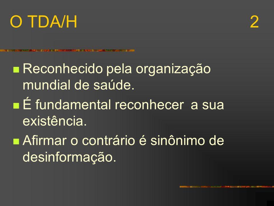 O TDA/H 2 Reconhecido pela organização mundial de saúde.