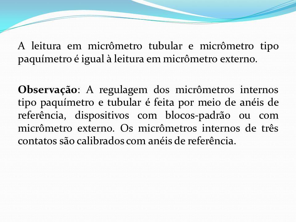 A leitura em micrômetro tubular e micrômetro tipo paquímetro é igual à leitura em micrômetro externo.