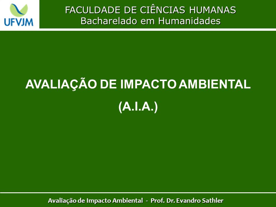AVALIAÇÃO DE IMPACTO AMBIENTAL (A.I.A.)