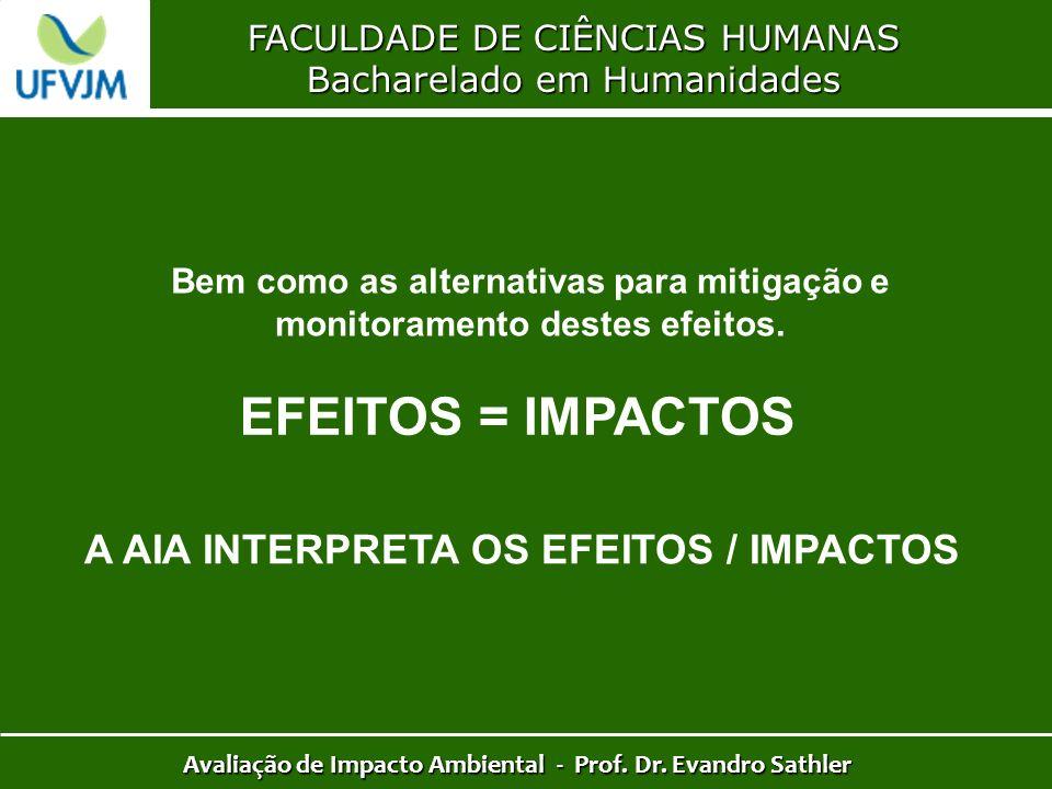 EFEITOS = IMPACTOS A AIA INTERPRETA OS EFEITOS / IMPACTOS