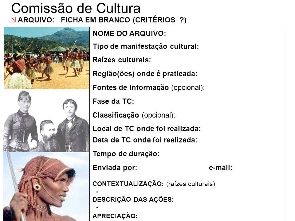 Comissão de Cultura ARQUIVO: FICHA EM BRANCO (CRITÉRIOS )