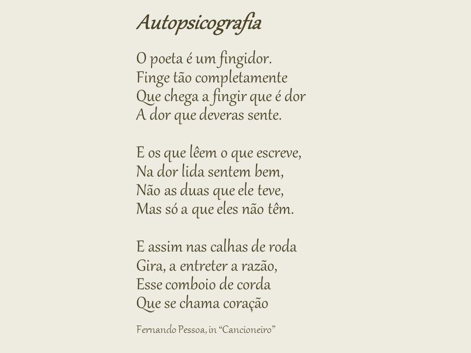 Autopsicografia O poeta é um fingidor. Finge tão completamente