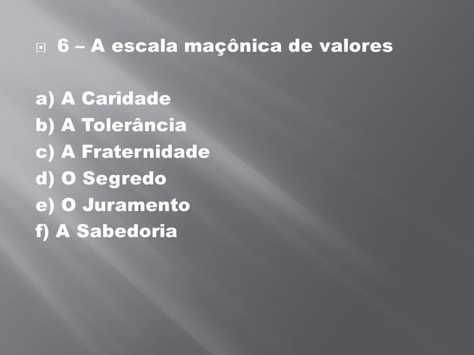 6 – A escala maçônica de valores