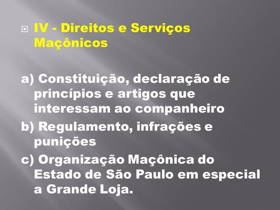 IV - Direitos e Serviços Maçônicos
