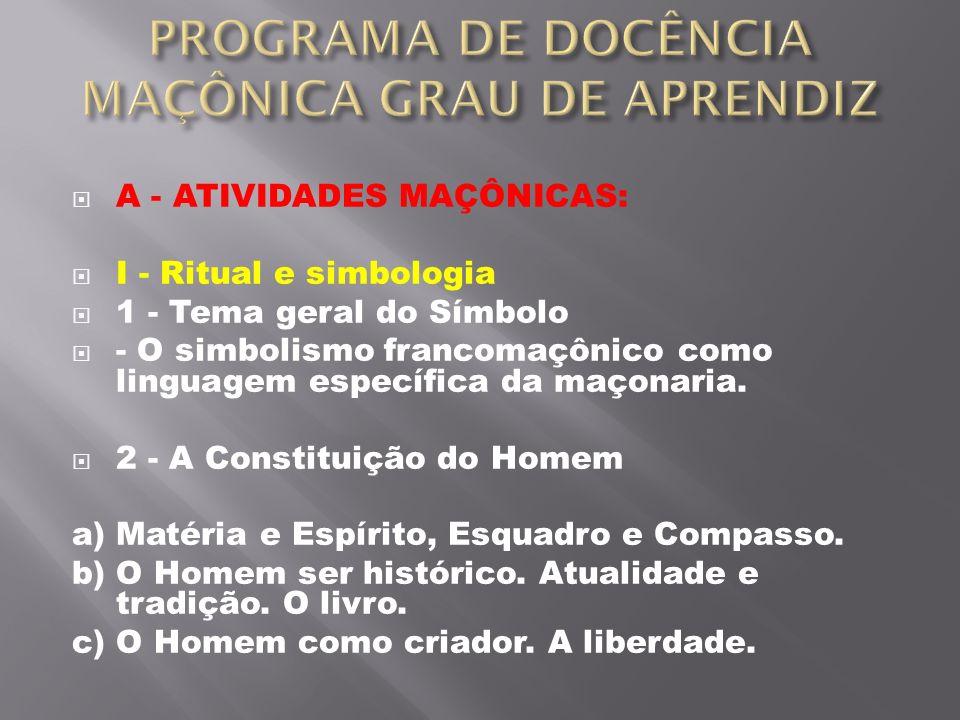 PROGRAMA DE DOCÊNCIA MAÇÔNICA GRAU DE APRENDIZ