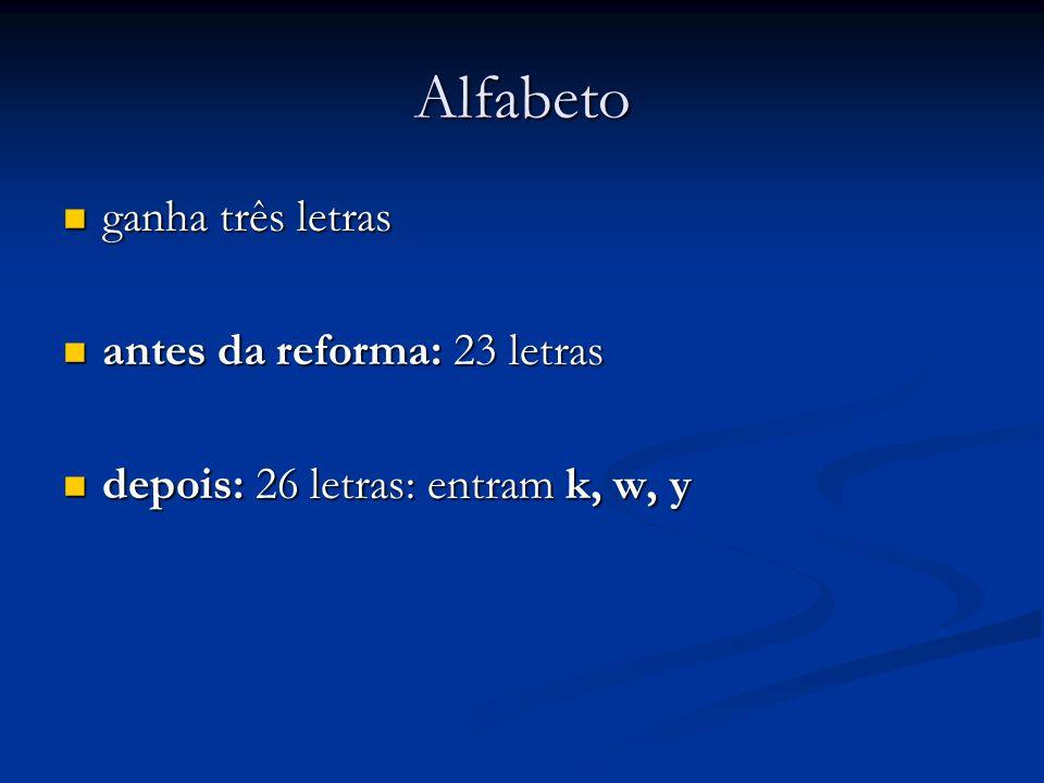 Alfabeto ganha três letras antes da reforma: 23 letras