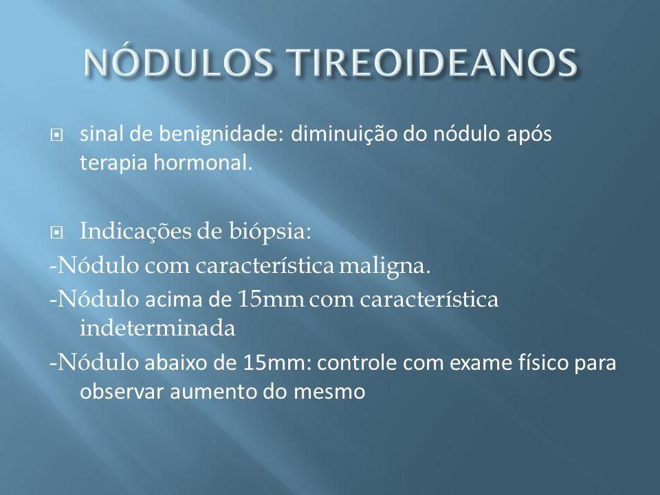 NÓDULOS TIREOIDEANOS sinal de benignidade: diminuição do nódulo após terapia hormonal. Indicações de biópsia: