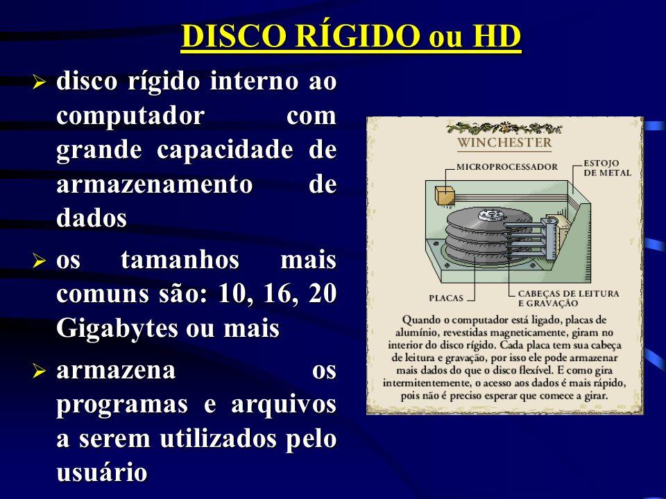 DISCO RÍGIDO ou HD disco rígido interno ao computador com grande capacidade de armazenamento de dados.