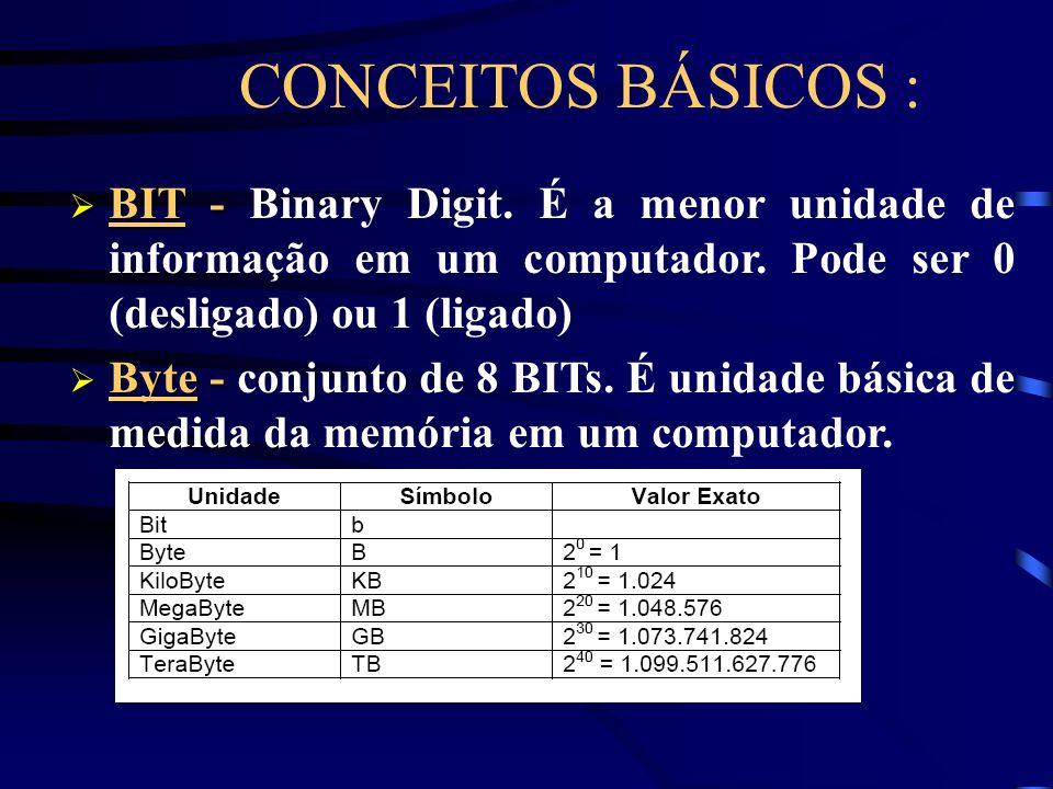 CONCEITOS BÁSICOS : BIT - Binary Digit. É a menor unidade de informação em um computador. Pode ser 0 (desligado) ou 1 (ligado)