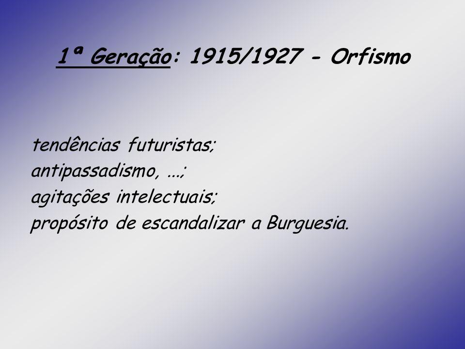1ª Geração: 1915/1927 - Orfismo tendências futuristas;