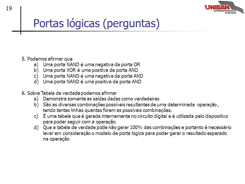 Portas lógicas (perguntas)