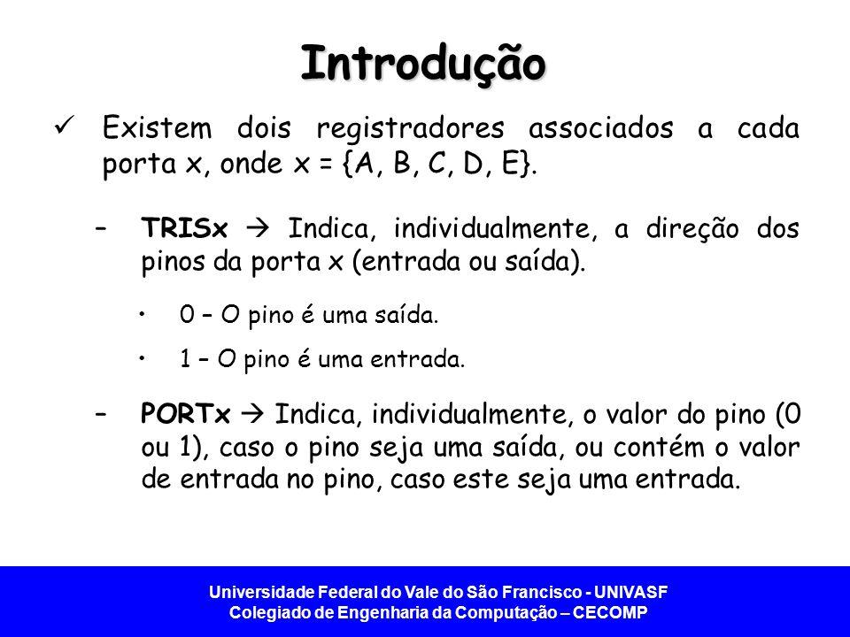 Introdução Existem dois registradores associados a cada porta x, onde x = {A, B, C, D, E}.