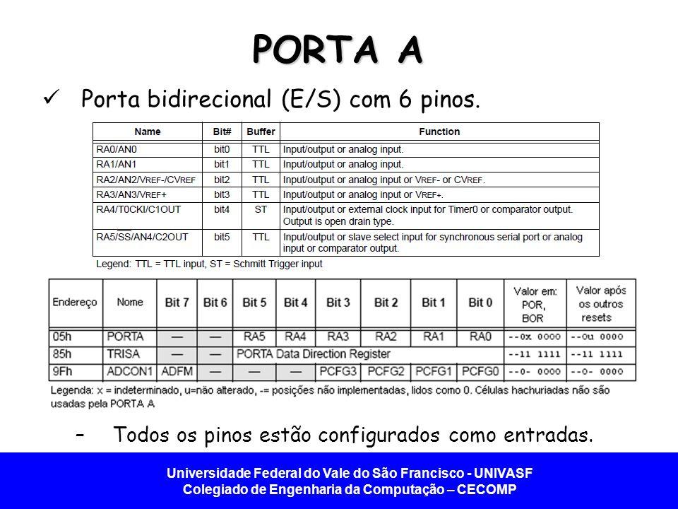 PORTA A Porta bidirecional (E/S) com 6 pinos.