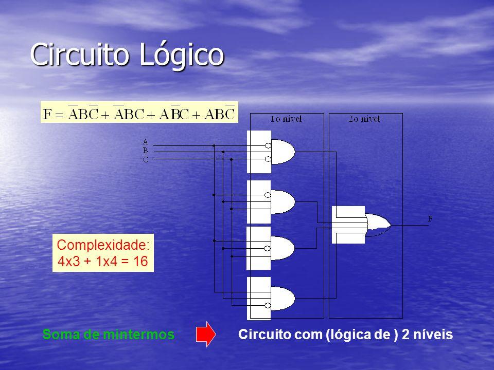 Circuito Lógico Complexidade: 4x3 + 1x4 = 16 Soma de mintermos