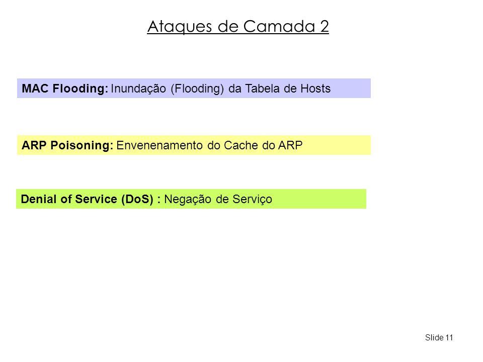 Ataques de Camada 2 MAC Flooding: Inundação (Flooding) da Tabela de Hosts. ARP Poisoning: Envenenamento do Cache do ARP.