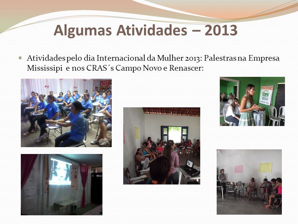 Algumas Atividades – 2013 Atividades pelo dia Internacional da Mulher 2013: Palestras na Empresa Mississipi e nos CRAS´s Campo Novo e Renascer: