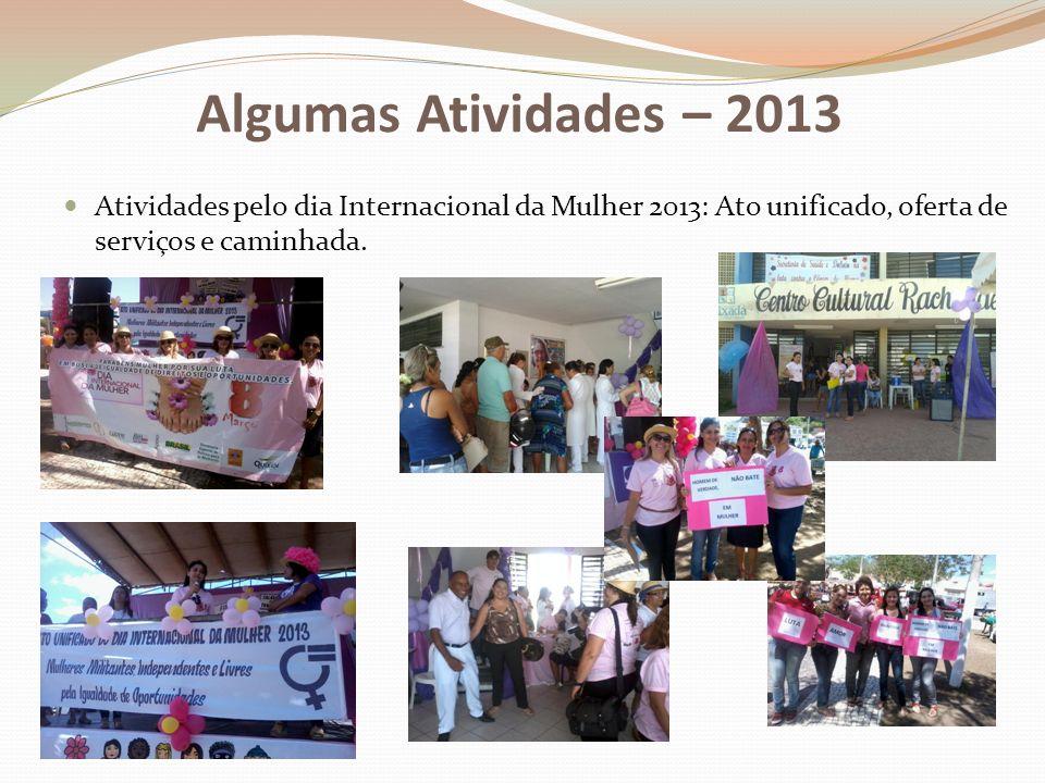 Algumas Atividades – 2013 Atividades pelo dia Internacional da Mulher 2013: Ato unificado, oferta de serviços e caminhada.