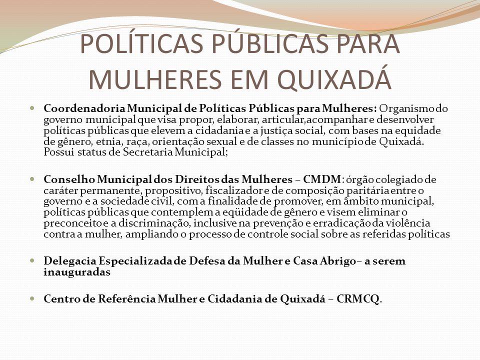 POLÍTICAS PÚBLICAS PARA MULHERES EM QUIXADÁ