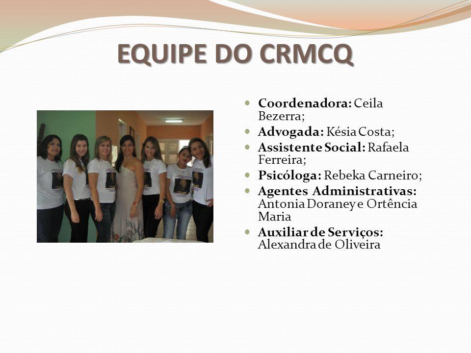 EQUIPE DO CRMCQ Coordenadora: Ceila Bezerra; Advogada: Késia Costa;