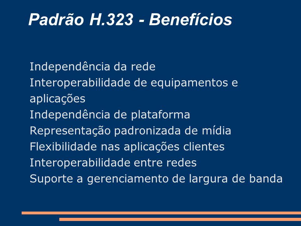 Padrão H.323 - Benefícios Independência da rede