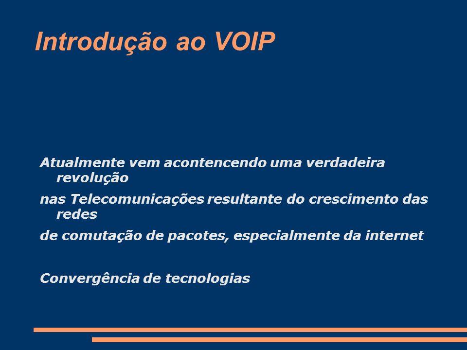 Introdução ao VOIP Atualmente vem acontencendo uma verdadeira revolução. nas Telecomunicações resultante do crescimento das redes.
