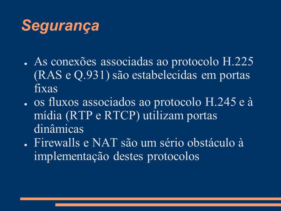 Segurança As conexões associadas ao protocolo H.225 (RAS e Q.931) são estabelecidas em portas fixas.