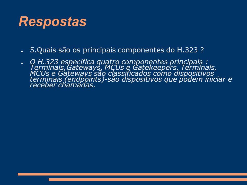 Respostas 5.Quais são os principais componentes do H.323