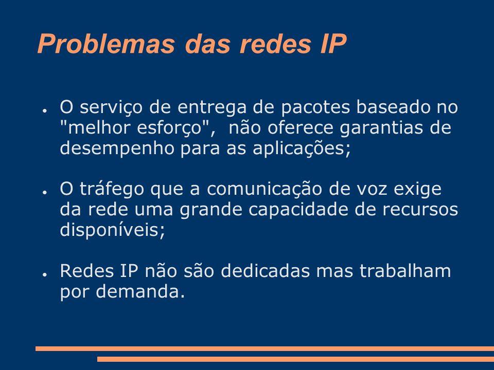 Problemas das redes IP O serviço de entrega de pacotes baseado no melhor esforço , não oferece garantias de desempenho para as aplicações;