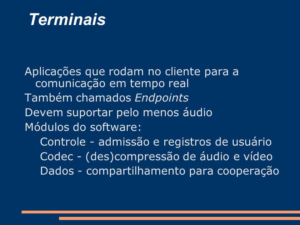 Terminais Aplicações que rodam no cliente para a comunicação em tempo real. Também chamados Endpoints.