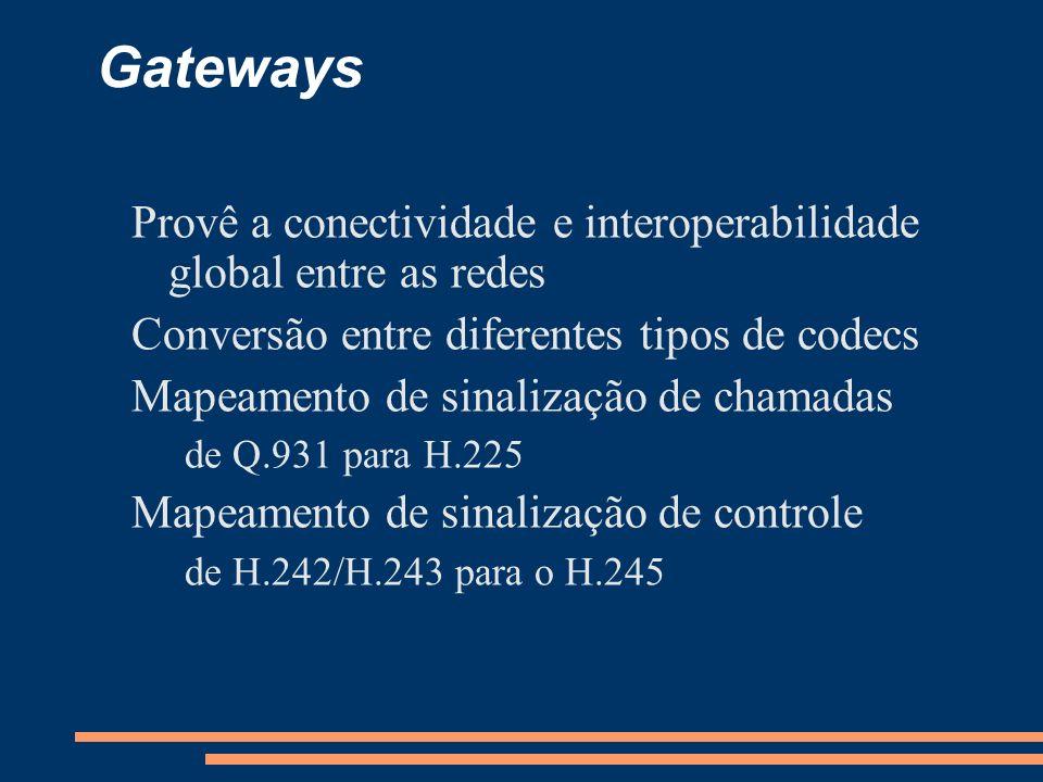 Gateways Provê a conectividade e interoperabilidade global entre as redes. Conversão entre diferentes tipos de codecs.
