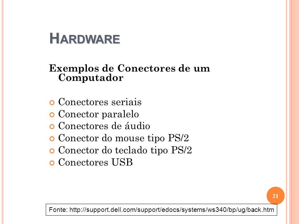 Hardware Exemplos de Conectores de um Computador Conectores seriais