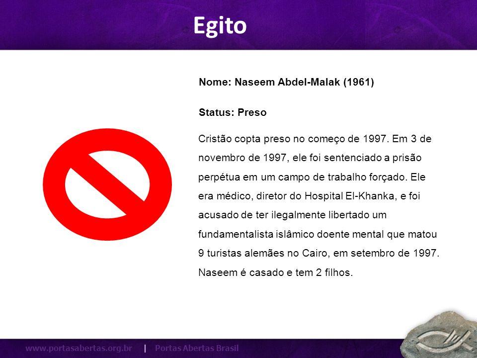 Egito Nome: Naseem Abdel-Malak (1961) Status: Preso
