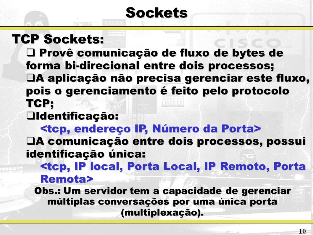 Sockets TCP Sockets: Provê comunicação de fluxo de bytes de forma bi-direcional entre dois processos;
