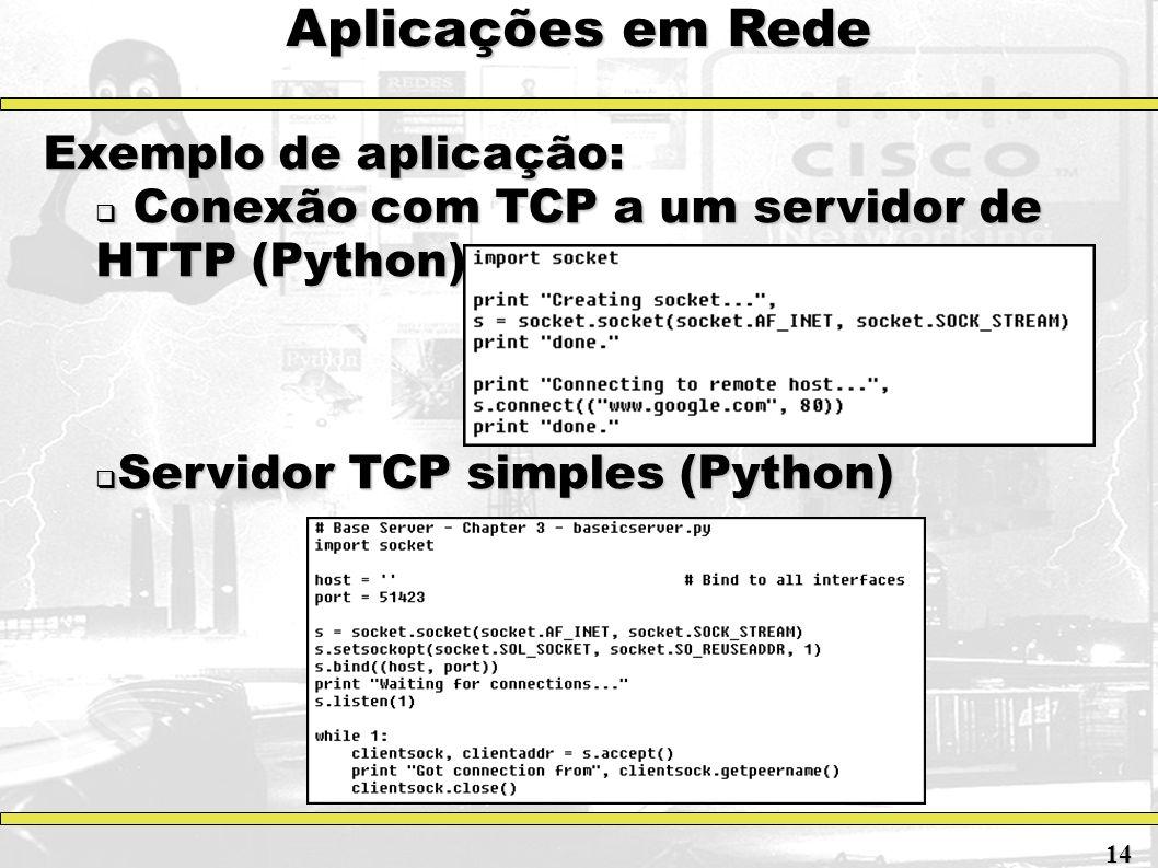 Aplicações em Rede Exemplo de aplicação: