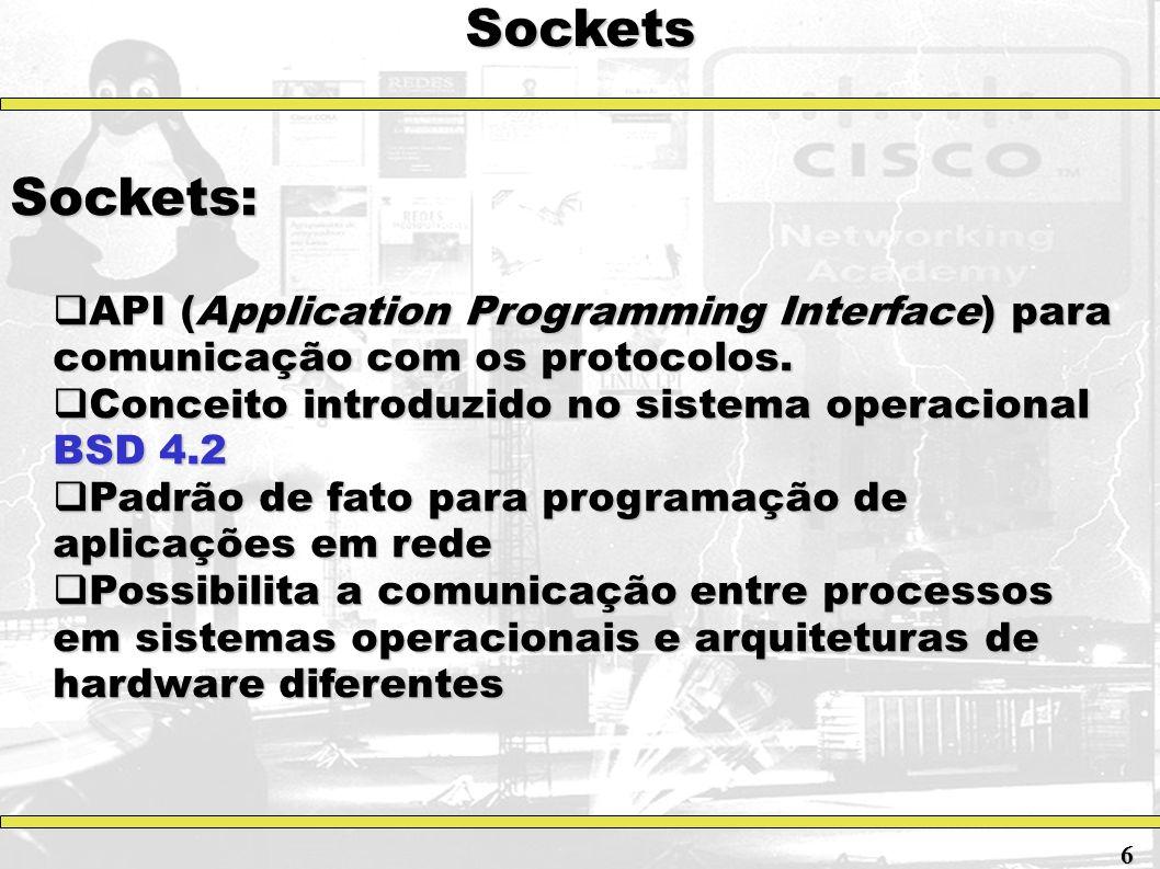 Sockets Sockets: API (Application Programming Interface) para comunicação com os protocolos. Conceito introduzido no sistema operacional BSD 4.2.