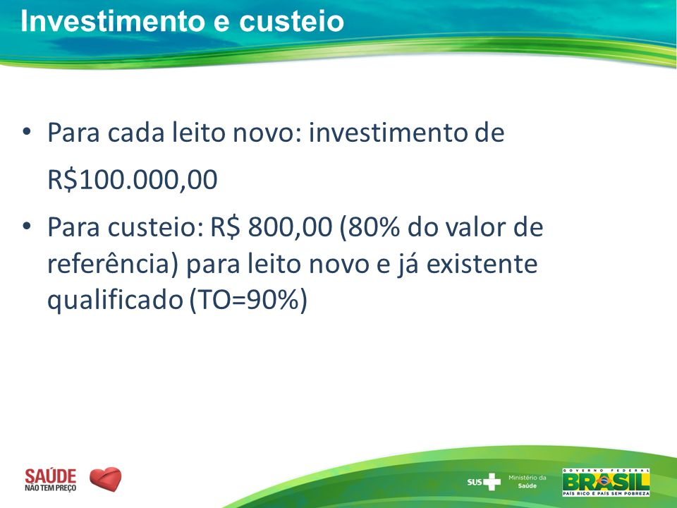 Investimento e custeio