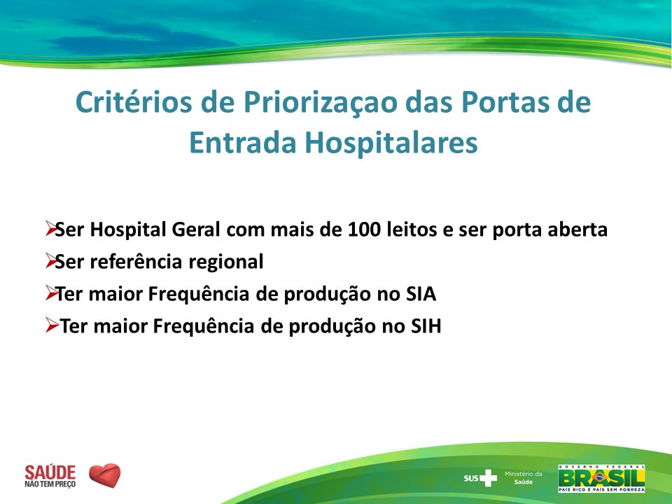 Critérios de Priorizaçao das Portas de Entrada Hospitalares