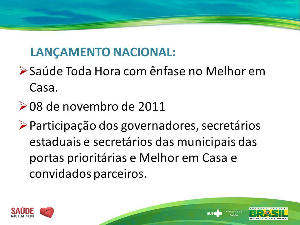 LANÇAMENTO NACIONAL: Saúde Toda Hora com ênfase no Melhor em Casa. 08 de novembro de 2011.