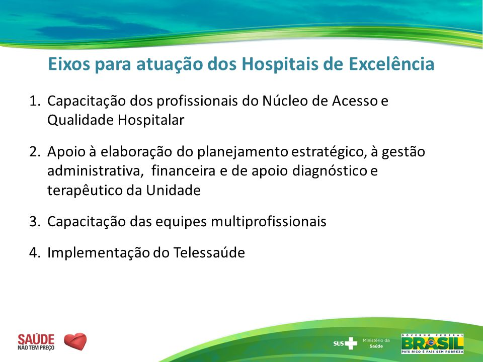 Eixos para atuação dos Hospitais de Excelência