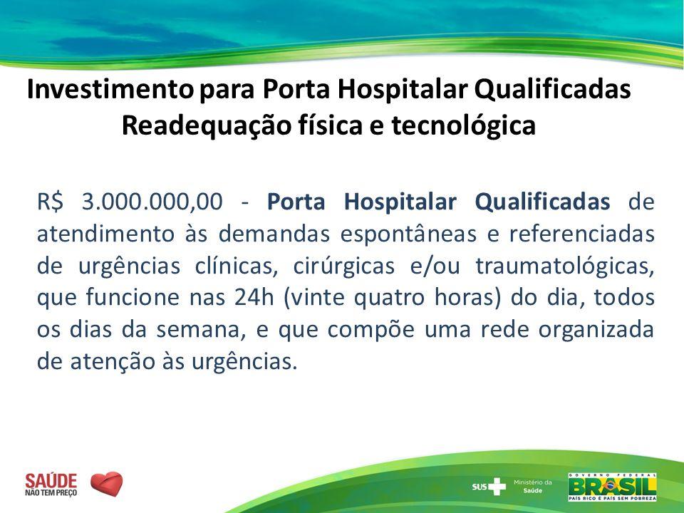 Investimento para Porta Hospitalar Qualificadas Readequação física e tecnológica