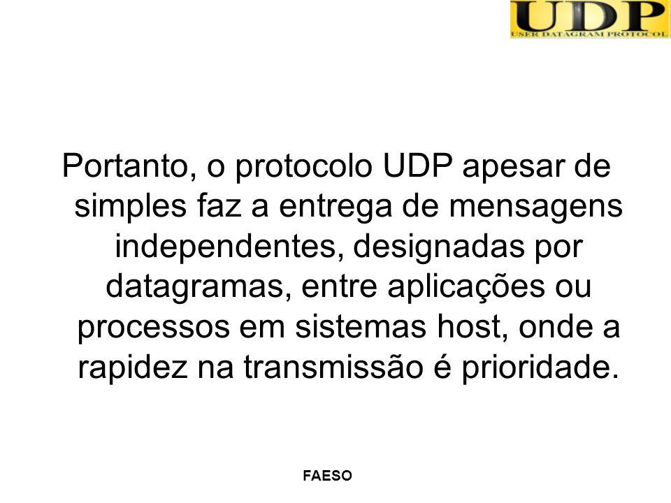 Portanto, o protocolo UDP apesar de simples faz a entrega de mensagens independentes, designadas por datagramas, entre aplicações ou processos em sistemas host, onde a rapidez na transmissão é prioridade.