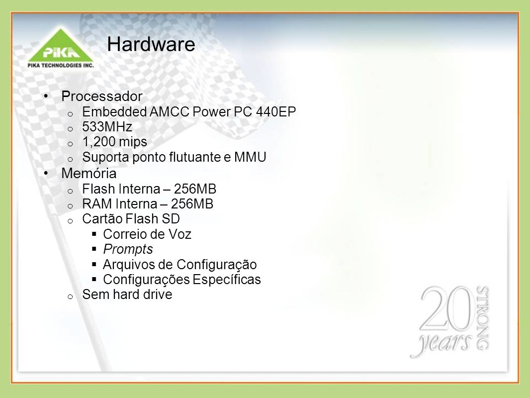 Hardware Processador Memória Embedded AMCC Power PC 440EP 533MHz