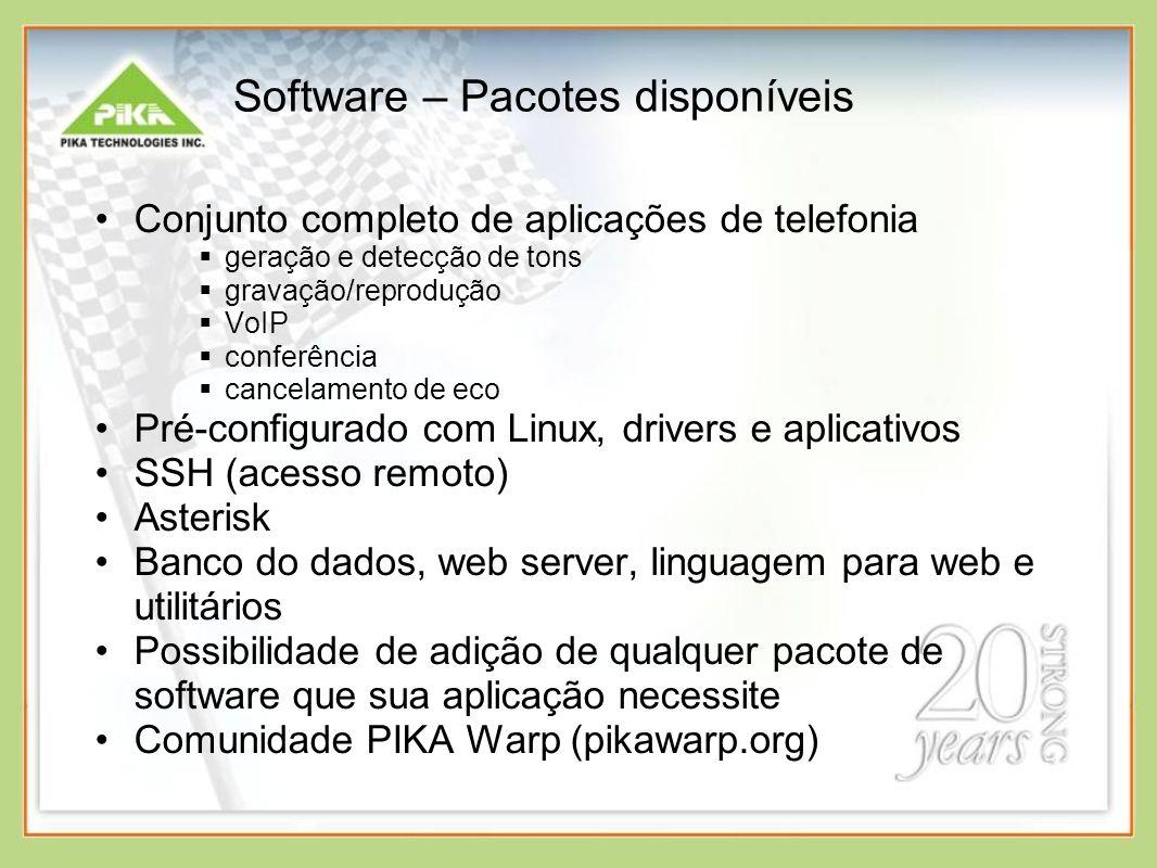 Software – Pacotes disponíveis
