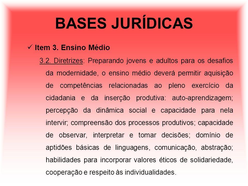 BASES JURÍDICAS Item 3. Ensino Médio