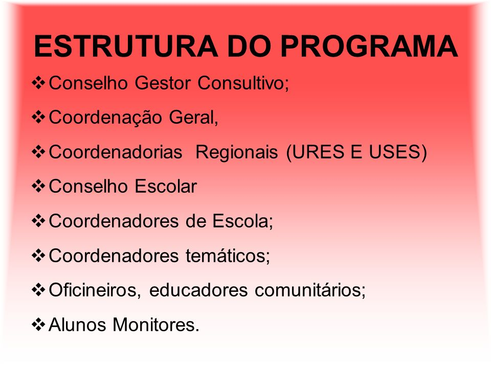 ESTRUTURA DO PROGRAMA Conselho Gestor Consultivo; Coordenação Geral,